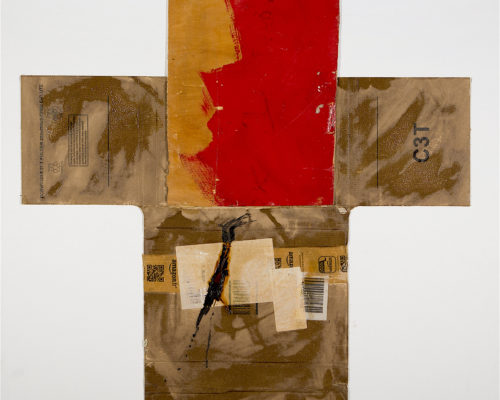 AP Ec 1:2, 2015, tecnica mista, cartone e legno su tela, cm 80x80