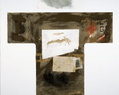 AP Ec 2:3, 2015, tecnica mista, cartone e carta su tela, cm 80x80
