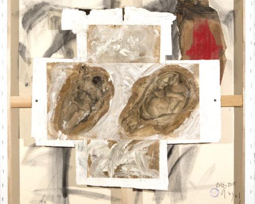 AP Ec 8:16-17, 2012-2015, tecnica mista, carta su tavola, cartone su tela rovesciata, cm 80x80